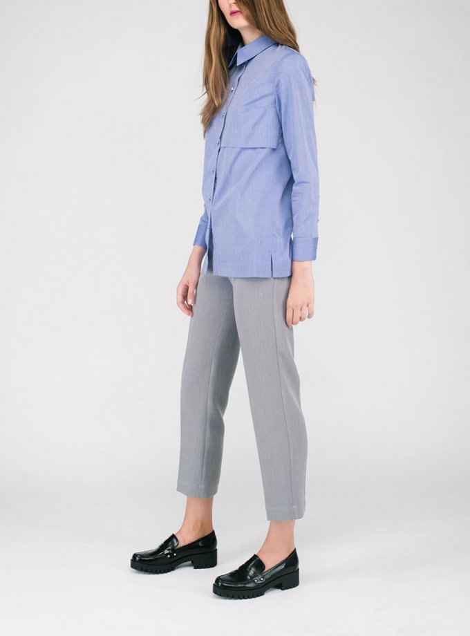 Хлопковая фиолетовая рубашка CYAN_SH#G02, фото 1 - в интернет магазине KAPSULA