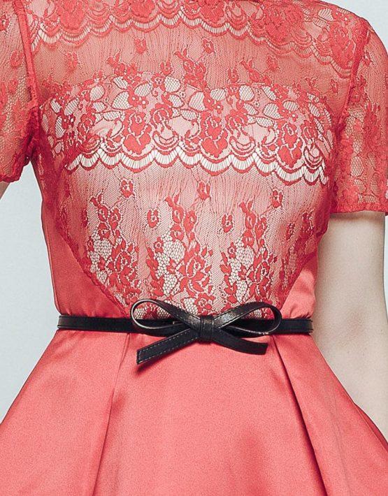 Красное атласное платье CAVO_017, фото 3 - в интеренет магазине KAPSULA