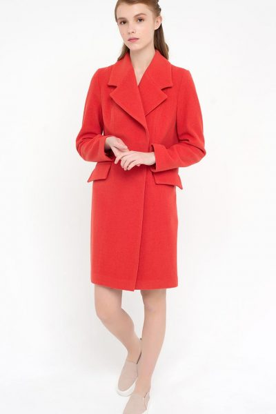 Пальто двубортное красное CYAN_CT#F04, фото 1 - в интеренет магазине KAPSULA