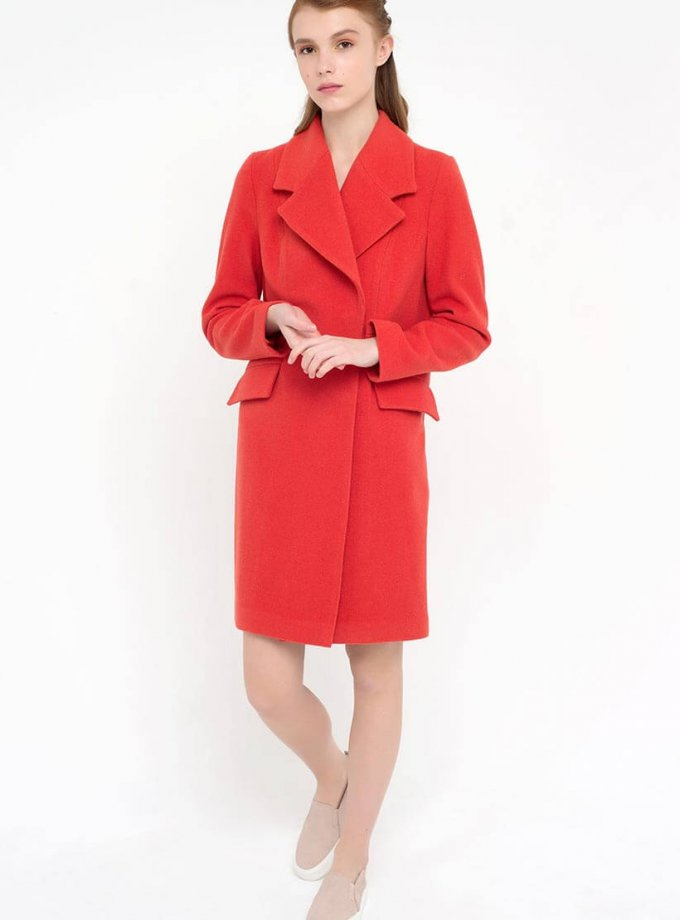 Пальто двубортное красное CYAN_CT#F04, фото 1 - в интернет магазине KAPSULA