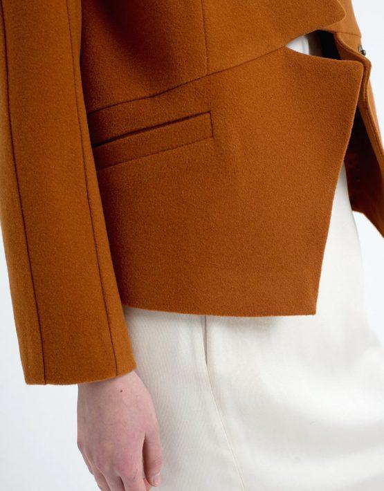 Жакет геометрического кроя CYAN_CT#F07_brown_outlet, фото 5 - в интеренет магазине KAPSULA
